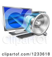 Clipart Of A 3d Megaphone Emerging From A Desktop Computer Royalty Free Vector Illustration by AtStockIllustration