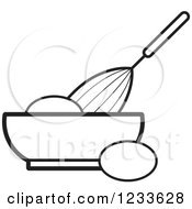 Clipart Of A Black And White Whisk Egg And Bowl Royalty Free Vector Illustration