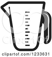 Clipart Of A Black And White Measuring Cup Royalty Free Vector Illustration