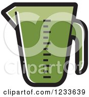 Clipart Of A Green Measuring Cup Royalty Free Vector Illustration