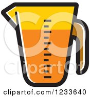 Clipart Of An Orange Measuring Cup Royalty Free Vector Illustration