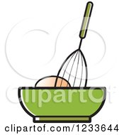Clipart Of A Whisk Egg And Green Bowl Royalty Free Vector Illustration