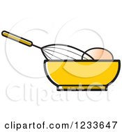 Clipart Of A Whisk Egg And Yellow Bowl Royalty Free Vector Illustration by Lal Perera