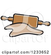 Clipart Of A Brown Rolling Pin And Dough Royalty Free Vector Illustration by Lal Perera