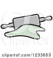Clipart Of A Gray Rolling Pin And Dough 2 Royalty Free Vector Illustration by Lal Perera