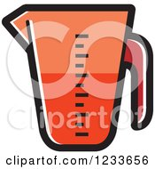 Clipart Of A Red Measuring Cup Royalty Free Vector Illustration