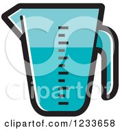 Clipart Of A Blue Measuring Cup Royalty Free Vector Illustration
