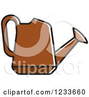 Clipart Of A Brown Watering Can Royalty Free Vector Illustration by Lal Perera