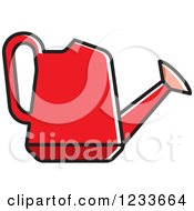 Clipart Of A Red Watering Can Royalty Free Vector Illustration by Lal Perera