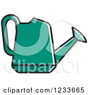 Clipart Of A Green Watering Can Royalty Free Vector Illustration by Lal Perera