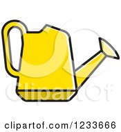 Clipart Of A Yellow Watering Can Royalty Free Vector Illustration