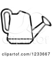 Clipart Of A Black And White Watering Can Royalty Free Vector Illustration by Lal Perera