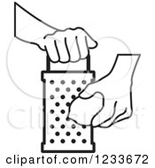 Clipart Of A Black And White Hand Grating A Lemon 2 Royalty Free Vector Illustration by Lal Perera