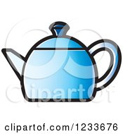 Clipart Of A Blue Tea Pot Royalty Free Vector Illustration