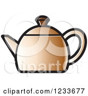 Clipart Of A Brown Tea Pot Royalty Free Vector Illustration