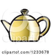 Clipart Of A Gold Tea Pot Royalty Free Vector Illustration