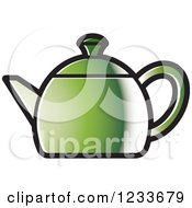 Clipart Of A Green Tea Pot Royalty Free Vector Illustration