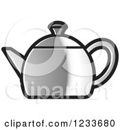 Clipart Of A Silver Tea Pot Royalty Free Vector Illustration