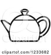 Clipart Of A Black And White Tea Pot Royalty Free Vector Illustration