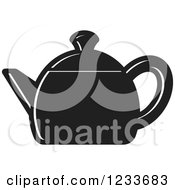 Clipart Of A Black And White Tea Pot 2 Royalty Free Vector Illustration