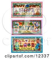 Clay Sculpture Clipart Hope Grows Faith Grows Love Grows Garden Scenes Royalty Free 3d Illustration