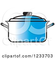 Clipart Of A Blue Pot With A Lid Royalty Free Vector Illustration