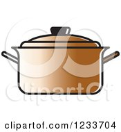 Clipart Of A Brown Pot With A Lid Royalty Free Vector Illustration