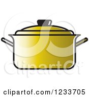 Clipart Of A Gold Pot With A Lid Royalty Free Vector Illustration