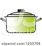 Clipart Of A Green Pot With A Lid Royalty Free Vector Illustration