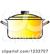 Clipart Of A Yellow Pot With A Lid Royalty Free Vector Illustration by Lal Perera