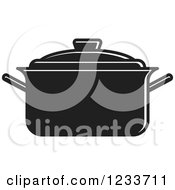Clipart Of A Black And White Pot With A Lid 2 Royalty Free Vector Illustration
