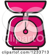 Clipart Of A Pink Food Scale Royalty Free Vector Illustration