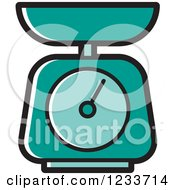Clipart Of A Turquoise Food Scale Royalty Free Vector Illustration