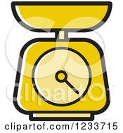 Clipart Of A Yellow Food Scale Royalty Free Vector Illustration