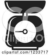 Clipart Of A Black And White Food Scale 2 Royalty Free Vector Illustration