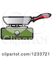 Clipart Of A Pan On A Green Burner Royalty Free Vector Illustration
