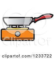 Clipart Of A Pan On An Orange Burner Royalty Free Vector Illustration