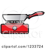 Clipart Of A Pan On A Red Burner Royalty Free Vector Illustration by Lal Perera