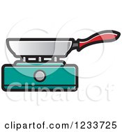 Clipart Of A Pan On A Turquoise Burner Royalty Free Vector Illustration