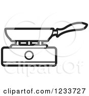 Clipart Of A Black And White Pan On A Burner Royalty Free Vector Illustration by Lal Perera