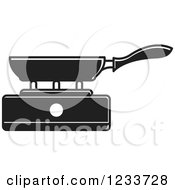 Clipart Of A Black And White Pan On A Burner 2 Royalty Free Vector Illustration by Lal Perera