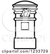 Clipart Of A Black And White Mailbox With Envelopes Royalty Free Vector Illustration