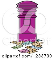 Clipart Of A Purple Mailbox With Envelopes Royalty Free Vector Illustration