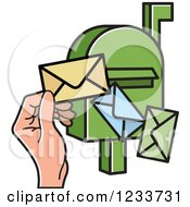 Clipart Of A Green Mailbox With A Hand And Envelopes Royalty Free Vector Illustration