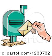 Clipart Of A Green Mailbox With A Hand And Envelopes 2 Royalty Free Vector Illustration