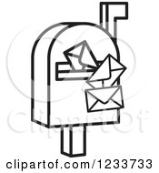 Clipart Of A Black And White Mailbox And Envelopes Royalty Free Vector Illustration