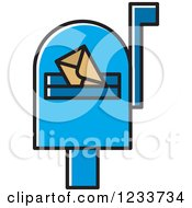 Clipart Of A Biue Mailbox With An Envelope Royalty Free Vector Illustration