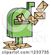Clipart Of A Green Mailbox And Envelopes Royalty Free Vector Illustration