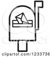 Clipart Of A Black And White Mailbox With An Envelope Royalty Free Vector Illustration
