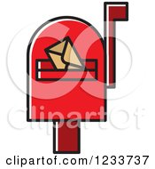 Clipart Of A Red Mailbox With An Envelope Royalty Free Vector Illustration
